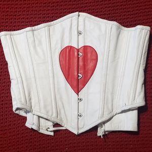 Dracula Clothing White Leather Underbust Corset S